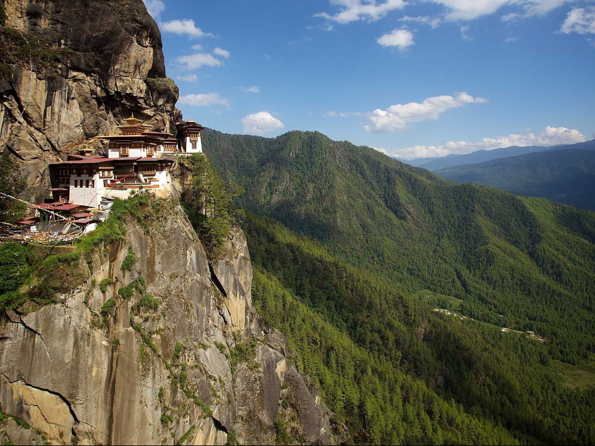 Tiger's Nest Monastery in Bhutan is perched 10,000 feet above sea level.