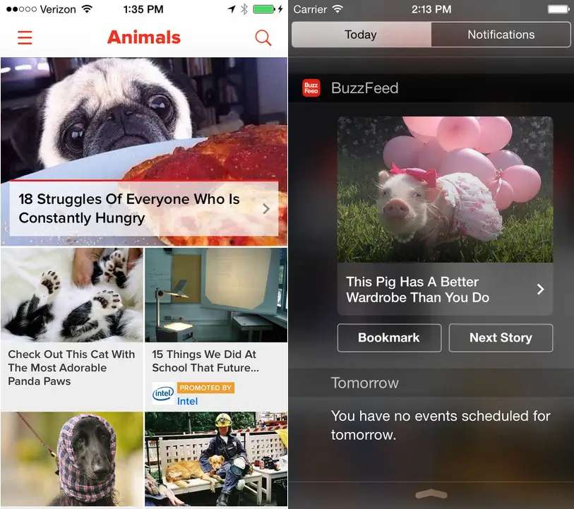 Stay entertained with Buzzfeed's app.