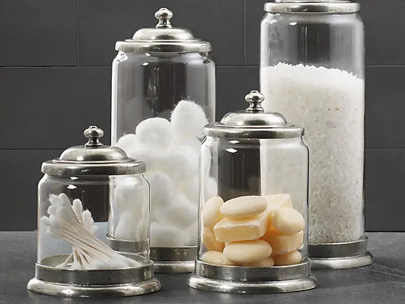 To complement your countertop accessories, get some matching storage jars for all your bathroom consumables. No adult man should have an open box of Q-tips sitting on his bathroom counter.