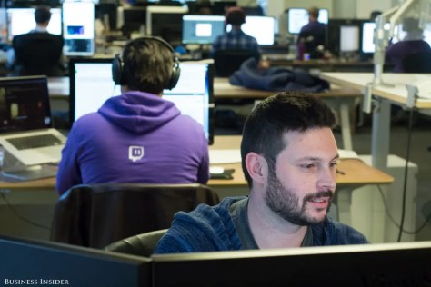 ... or just doing the daily grind at their desks, Twitch seems like an awesome place to work among friends.
