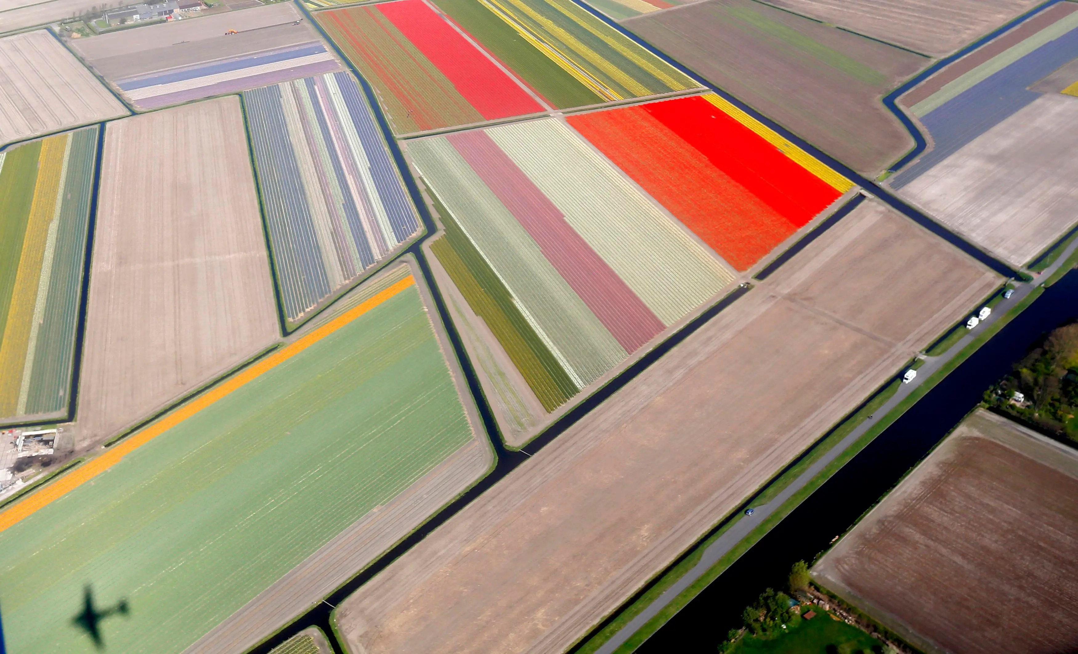 One of the world's largest flower gardens, known as the Garden of Europe, is seen from above in the Netherlands.
