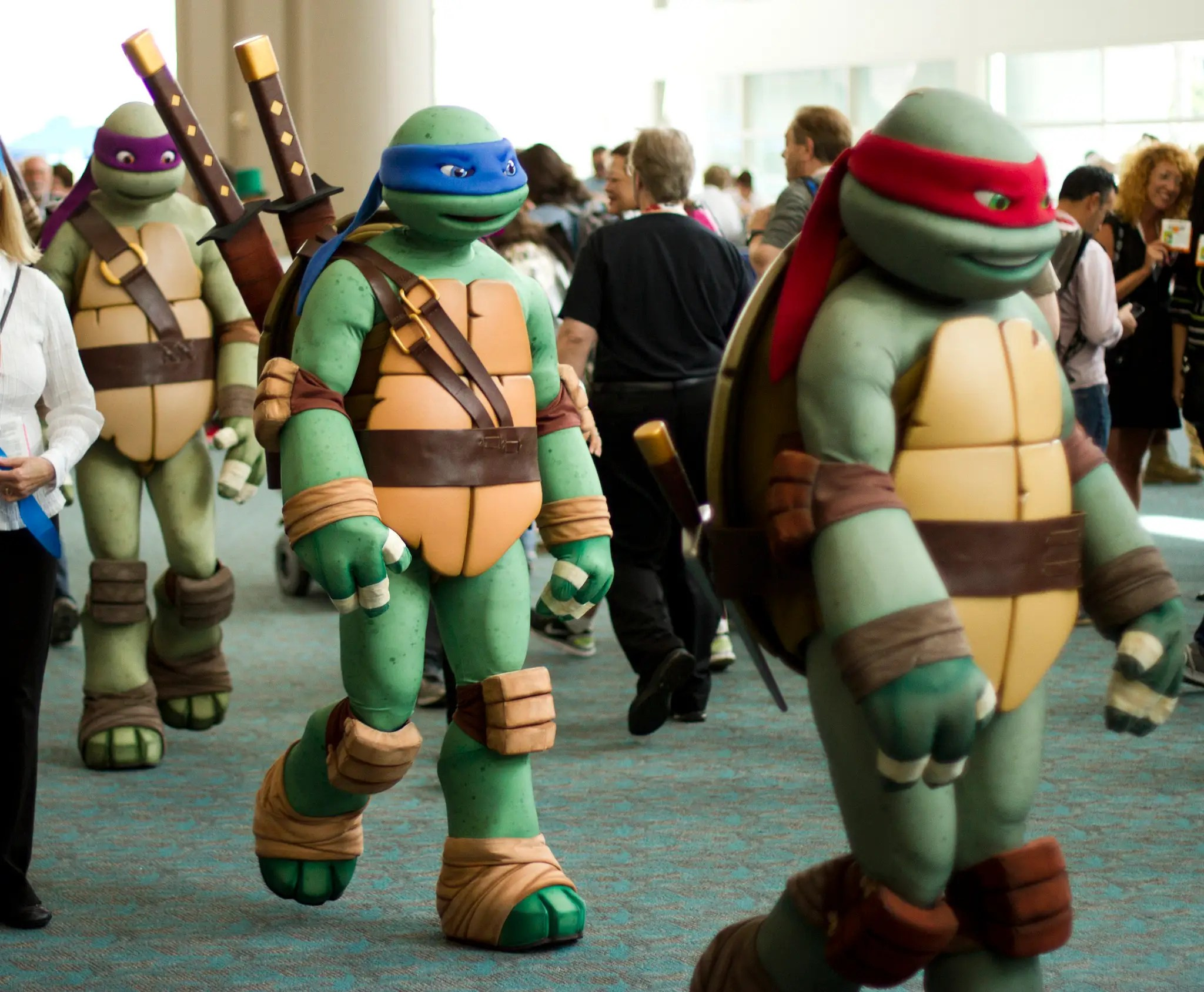 The Teenage Mutant Ninja Turtles set out in search of pizza.
