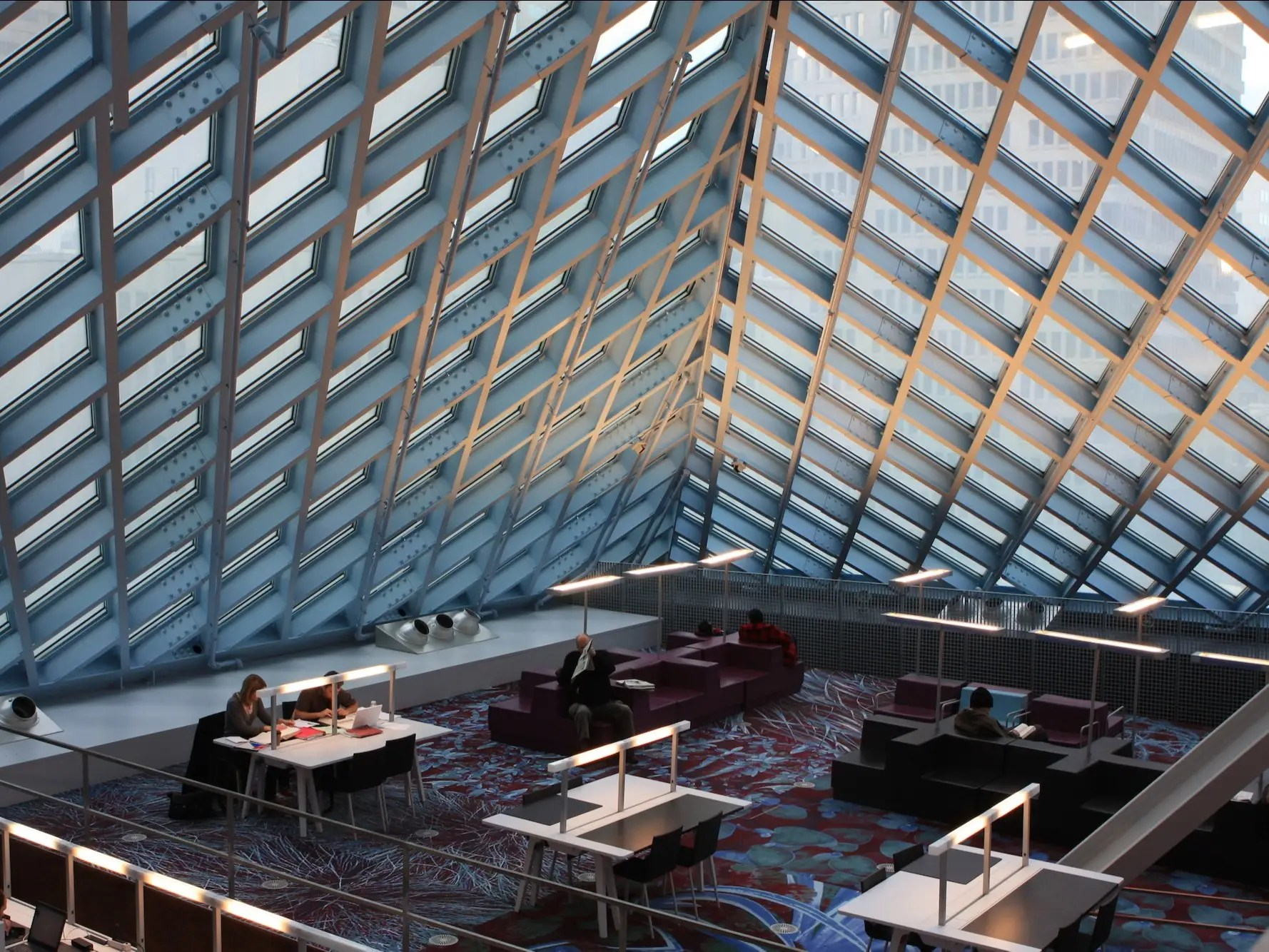 The Seattle Central Library in Seattle, Washington, has 11 stories composed of steel and glass, allowing for plenty of reading and studying room. The central library is a branch of the Seattle Public Library.