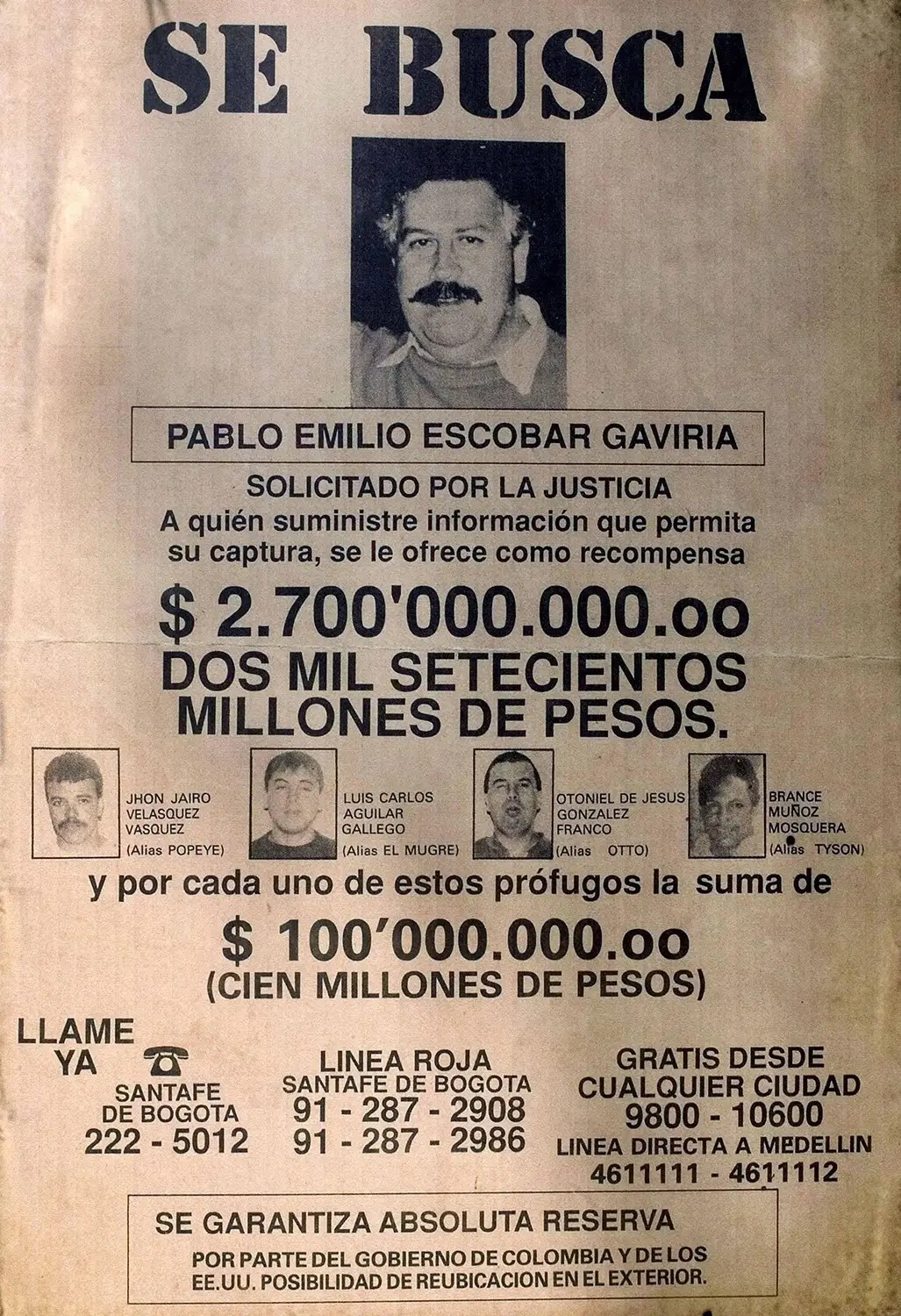 escobar wanted poster
