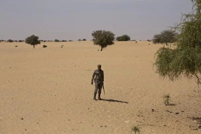 A Malian soldier stands guard at a village some 30km (18.6 miles) north of Timbuktu November 6, 2014. REUTERS/Joe Penney ICC rules jihadist liable for 2.7 mn euros for Timbuktu rampage ICC rules jihadist liable for 2.7 mn euros for Timbuktu rampage icc arrests rebel accused of attacking ancient timbuktu monuments 2015 9