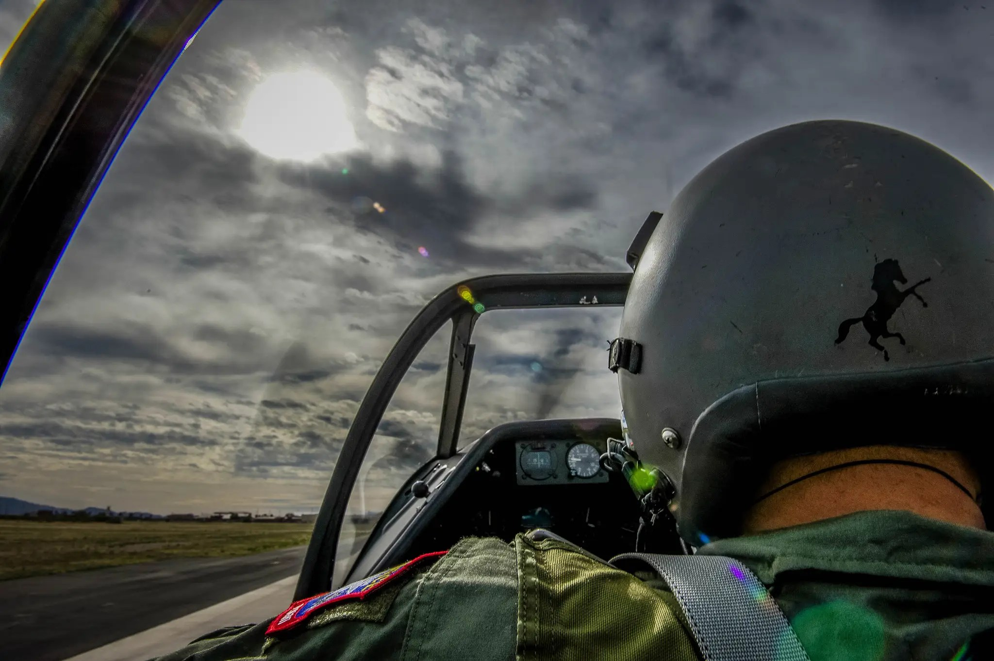 Here's a view from inside the Mustang's cockpit with the pilot who flew in the Heritage Flight.