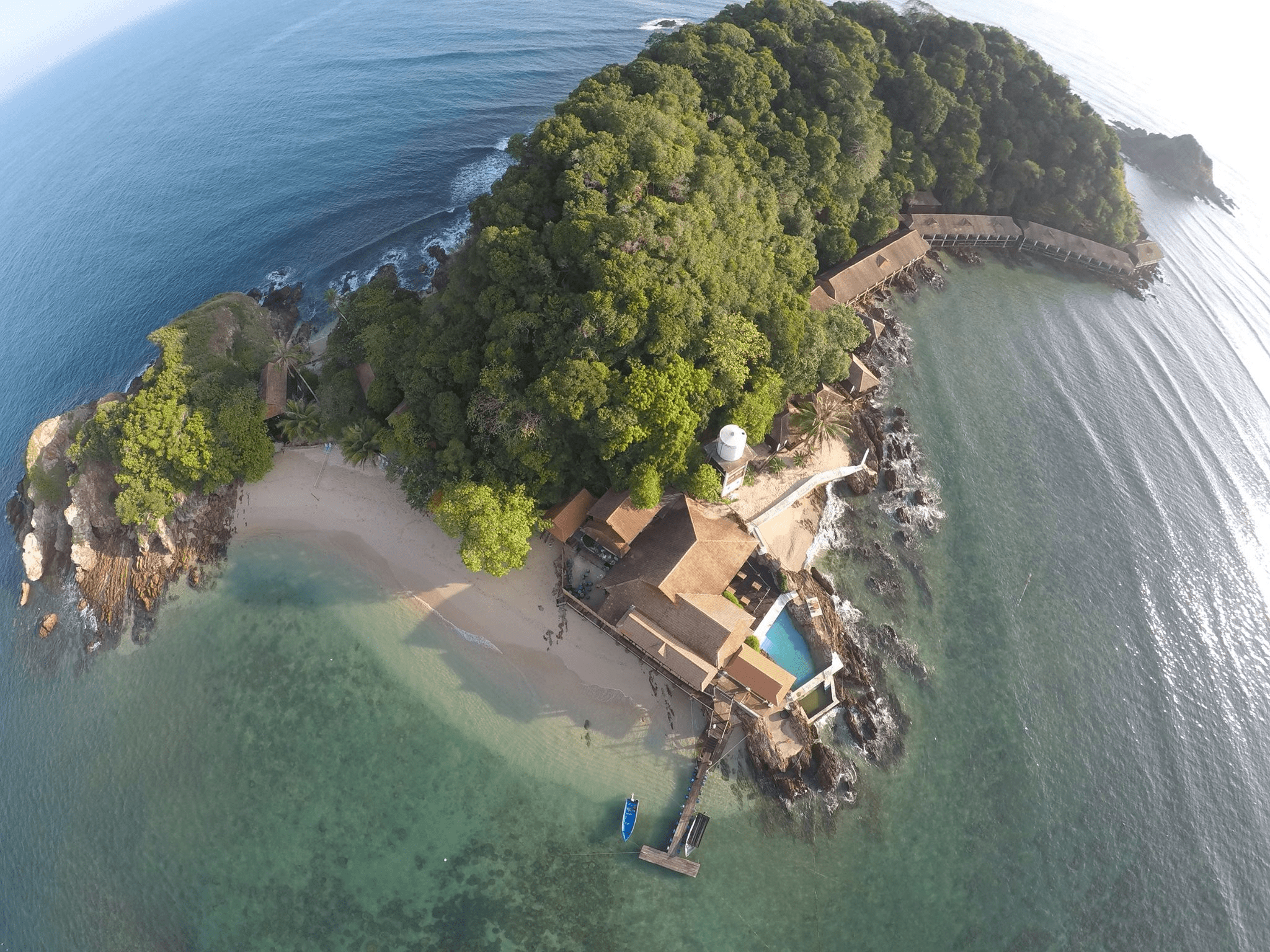 Gem Island Resort and Spa is located in a marine conservation park in Malaysia that has stunning underwater seascapes of coral and marine life. There are a total of 45 seaside villas that hug the surrounding coastline and come equipped with a balcony and swings.