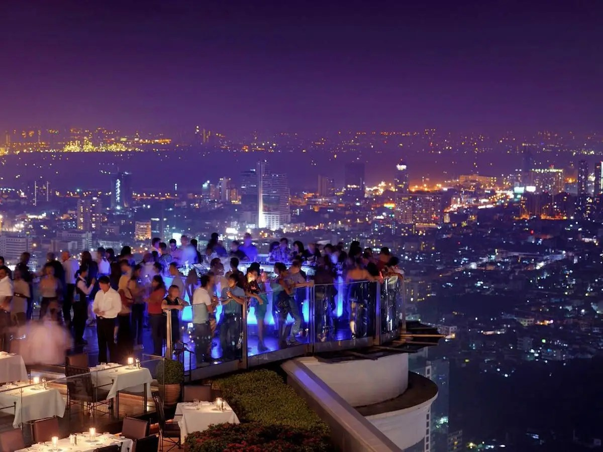 """Bangkok's Sky Bar will have you feeling drunk without a drop to drink, as it sits on the Lebua Hotel's 63rd floor — 820 feet in the sky. The trippy LED-lit bar changes color every few minutes,has some of the most incredible views of the city, and wasprominently featured in """"The Hangover Part II."""""""