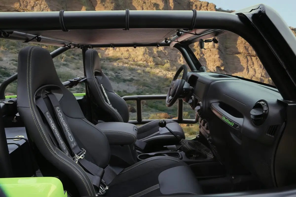 The Wrangler Trailcat concept had to be stretched to 12 inches to accommodate the massive engine providing 707 horsepower.