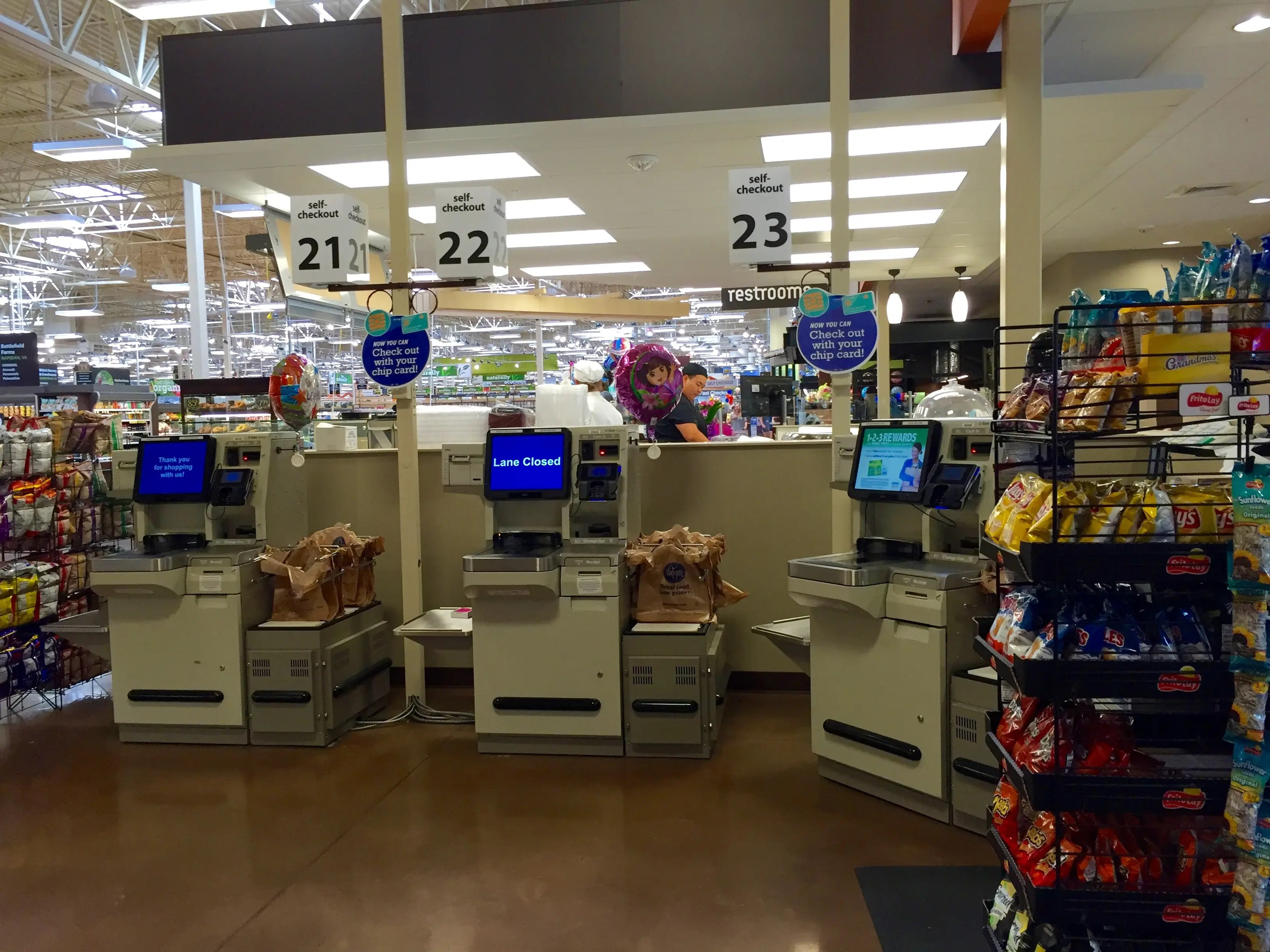 There are self-checkout registers near the prepared food counters so people grabbing lunch or dinner don't have to wait in long lines.