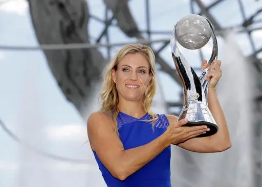Image result for pic of Angelique Kerber with uS open trophy