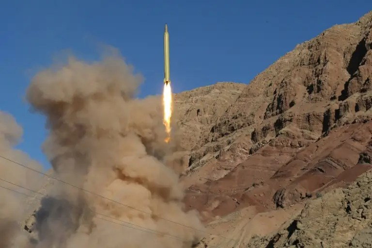 A long-range Qadr ballistic missile is launched in the Alborz mountain range in northern Iran, in March 2016