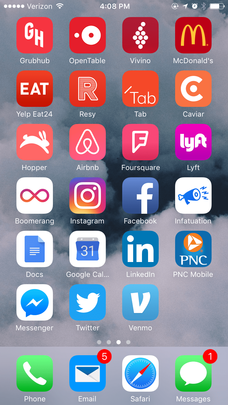 food apps iphone screen