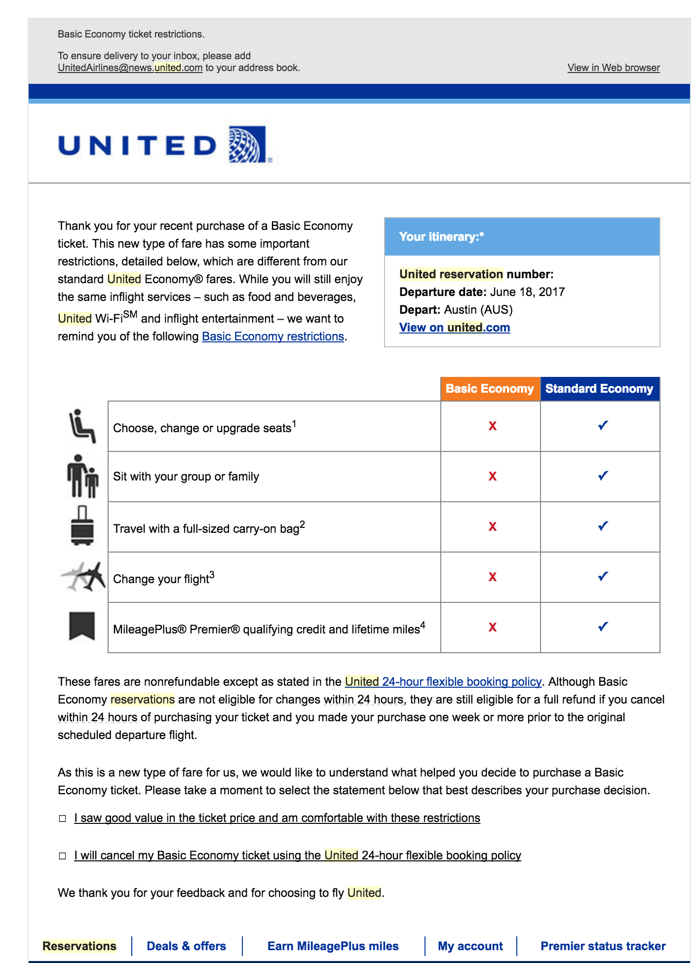 United Basic Economy Email