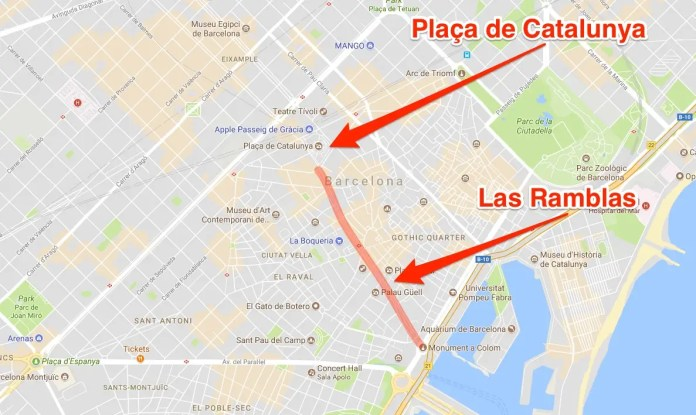 Barcelona terror attack map Las Ramblas version one A van has crashed into a crowd in Barcelona A van has crashed into a crowd in Barcelona barca 20map 201