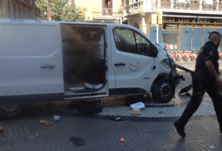 Van barcelona terrorist A van has crashed into a crowd in Barcelona A van has crashed into a crowd in Barcelona screen 20shot 202017 08 17 20at 20120106 20pm