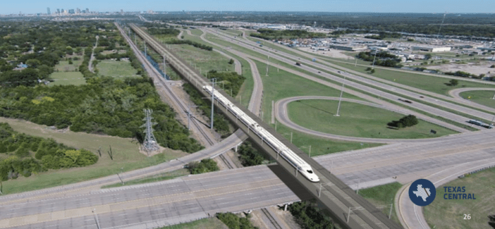 Dallas, Texas — A development that would surround a proposed station for a $15 billion bullet train