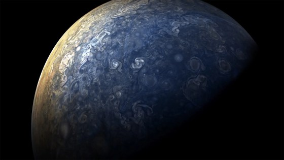 In the most recent flyby, as with the previous eight, Juno's flyby started over Jupiter's north pole.