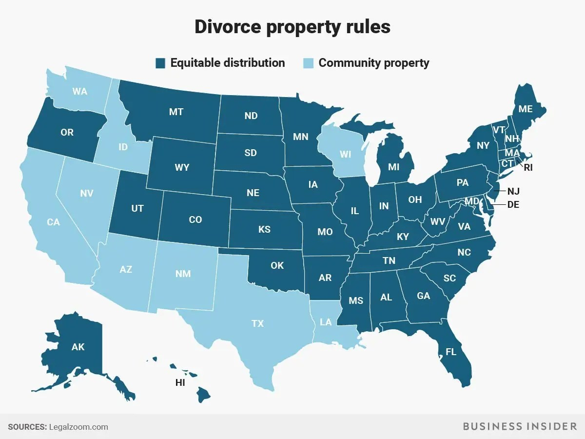 Best States To Get Divorced If Your Spouse Is Richer Than