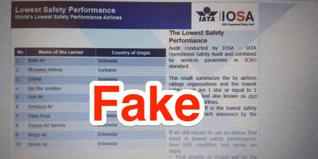 Fake safety rating Lion Air