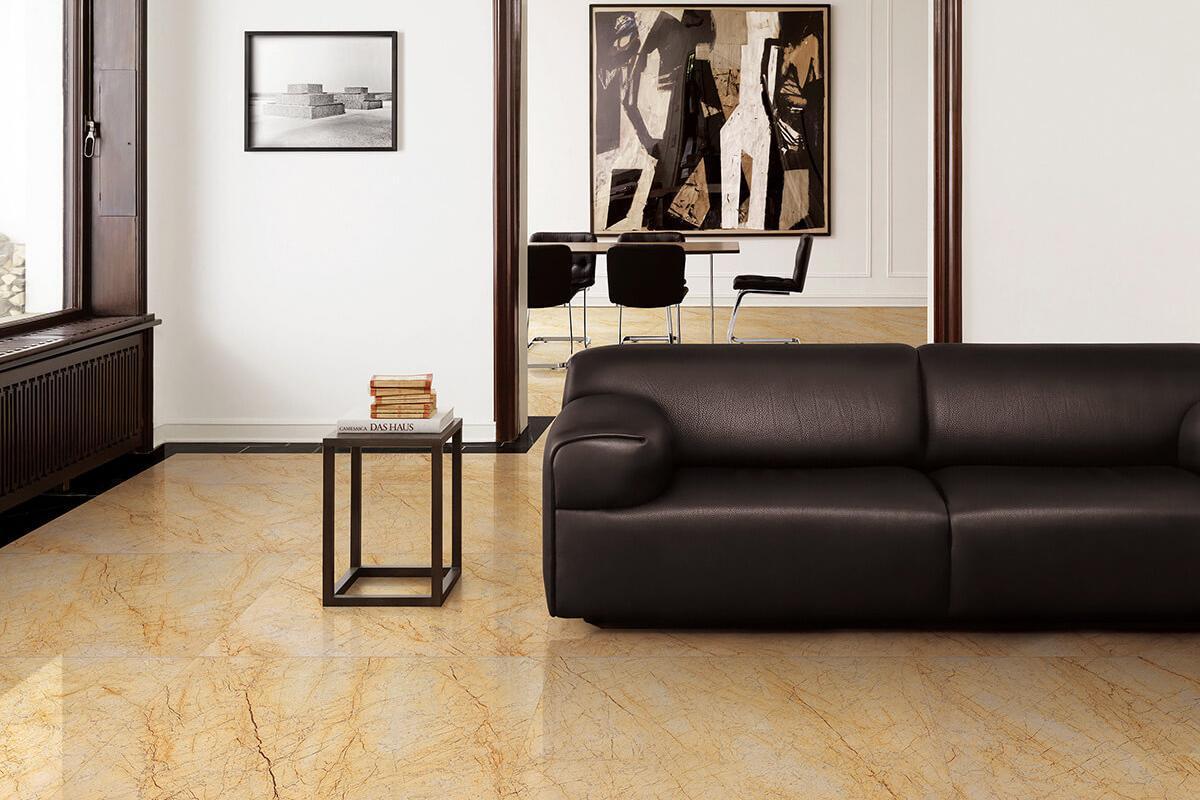 Gạch giả vân đá marble vàng lát sàn