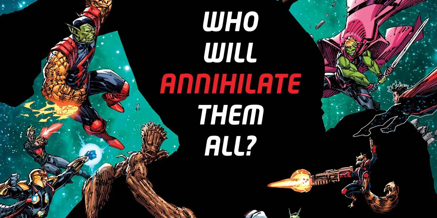 """The Guardians of the Galaxy swarm a large silhouette that has only the question, """"Who Will Annihilate Them All?"""" in it."""
