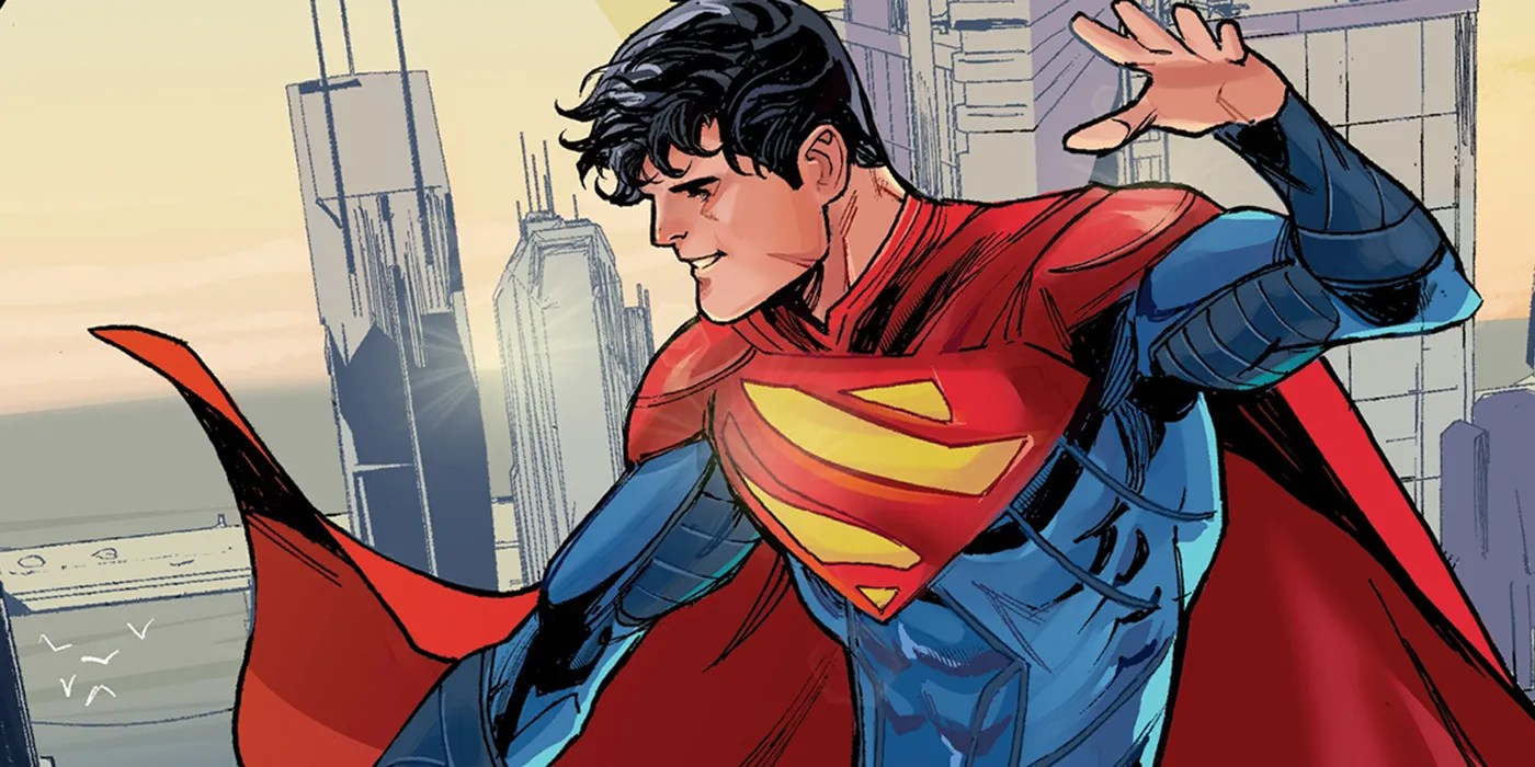 Jonathan Kent flying over a city, looking down, smiling. One of the other Superman comics alongside Icon & Rocket and Action Comics.
