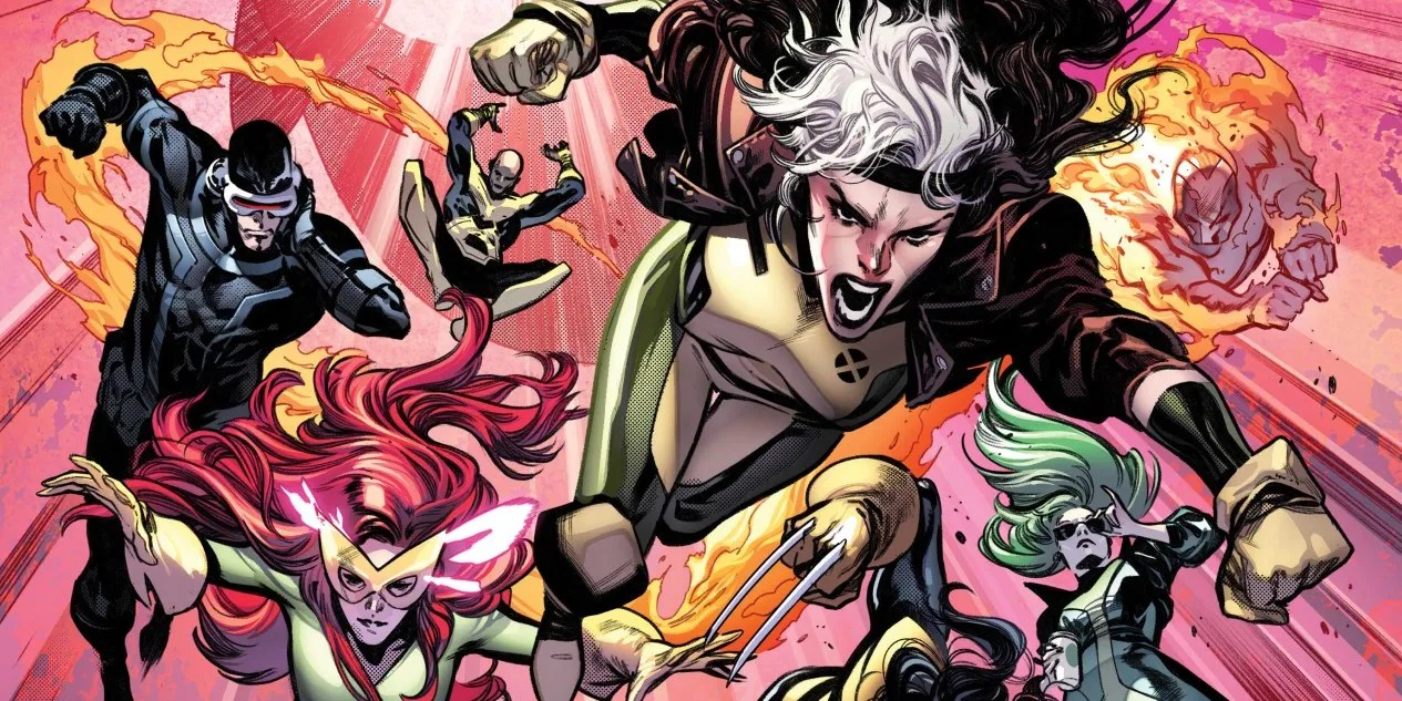 The X-Men flying down towards the viewer. In order, Cyclops, Jean Grey, Synch, Rogue, Polaris, and Sunspot.