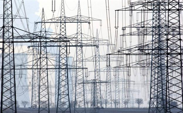 Field of electricity pylons.