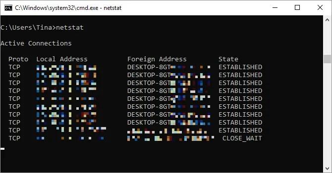 Netstat command run on Windows.