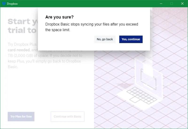 Avviso di base sul backup di Dropbox