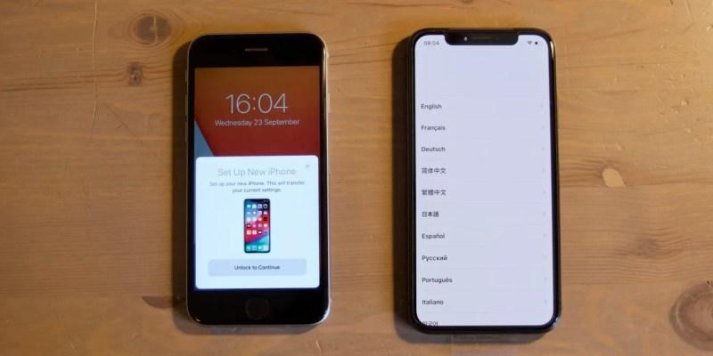 Richiesta di trasferimento dati di avvio rapido sul vecchio iPhone accanto al nuovo iPhone