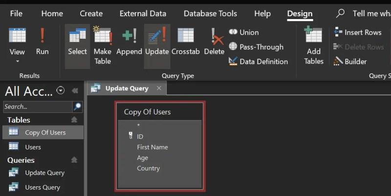 creare query di aggiornamento