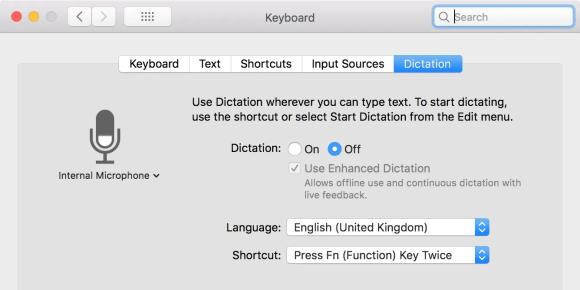 在Mac上关闭听写功能