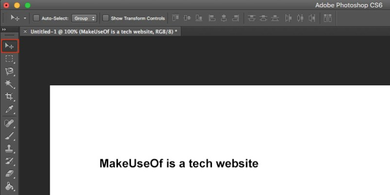 sposta il testo in Photoshop