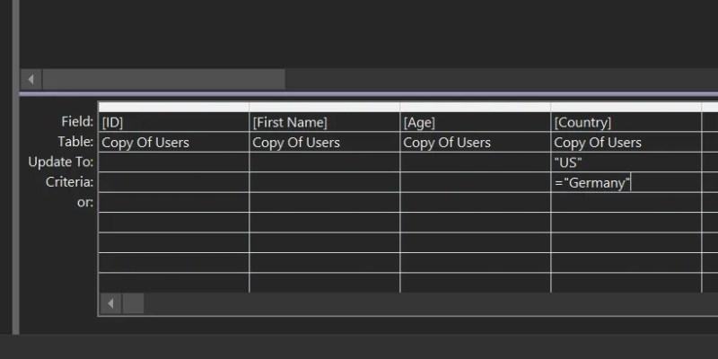 aggiornare i criteri di query