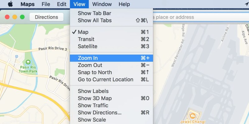 Macでアップルマップを拡大する