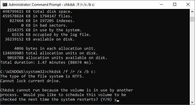 Running a chkdsk command to initiate a scan on Windows 10.