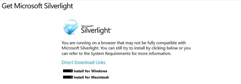 Silverlight не поддерживается