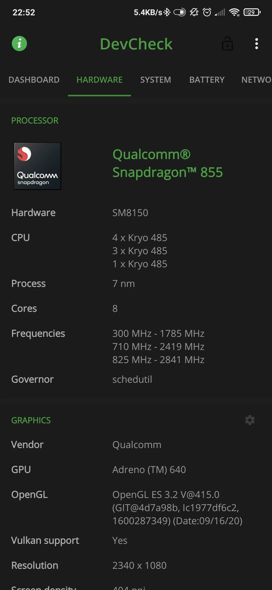 Android phone CPU specs by Devcheck