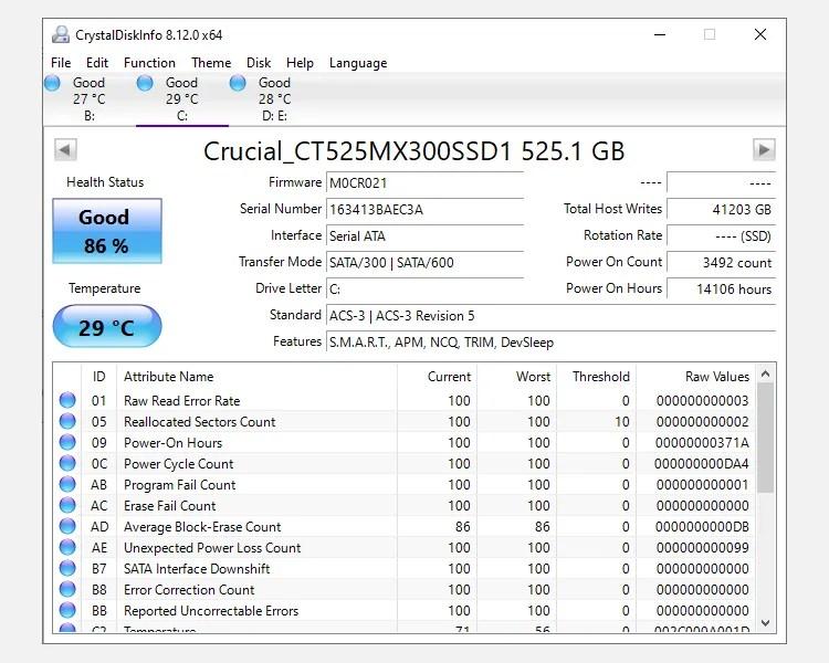 crystal disk info windows 10 disk monitoring