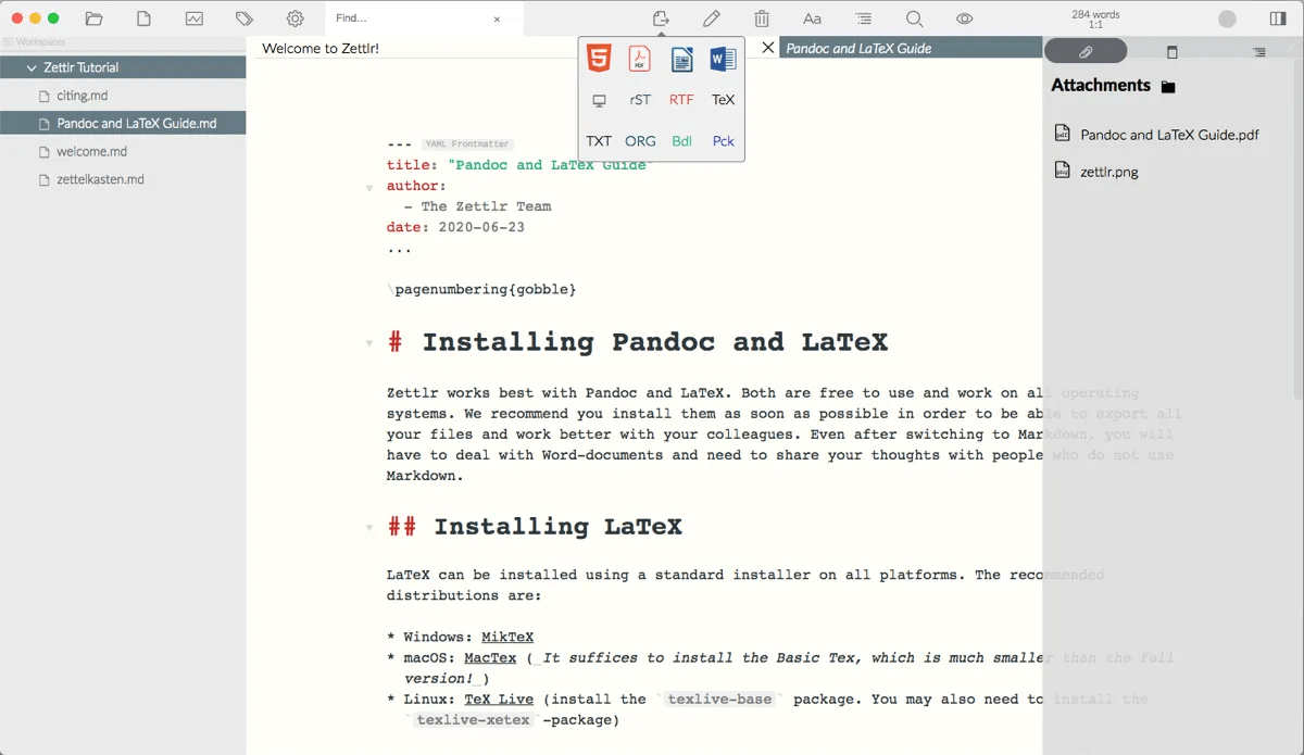 zettlr markdown editor for students and knowledge workers