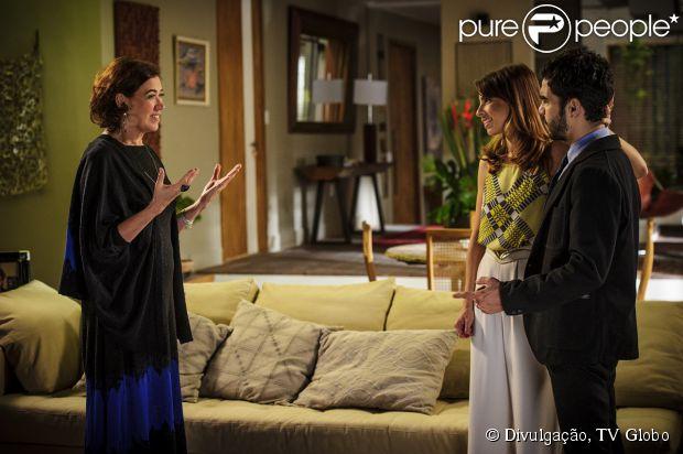 Maria Marta (Lilia Cabral) avisa a José Pedro (Caio Blat) que que Amanda (Adriana Birolli) vai morar com eles e Danielle (Maria Ribeiro) fica furiosa, em setembro de 2014, em 'Império'