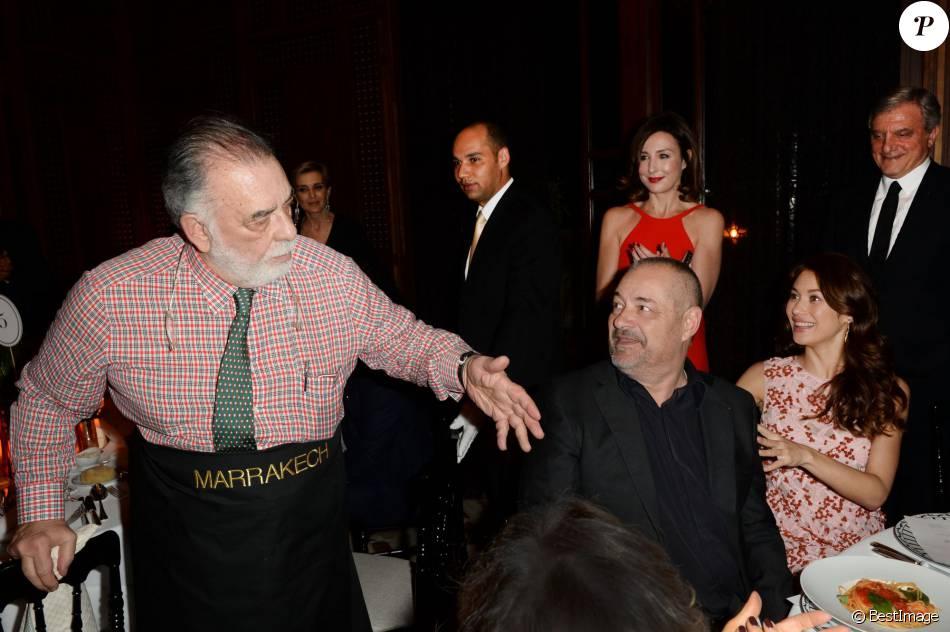 Francis Ford Coppola, Jean-Pierre Jeunet, Olga Kurylenko, Elsa Zylberstein, Sidney Toledano, Mélita Toscan du Plantier - Dîner Dior à l'hôtel Royal Mansour lors du 15ème Festival international du film de Marrakech, le 11 décembre 2015.