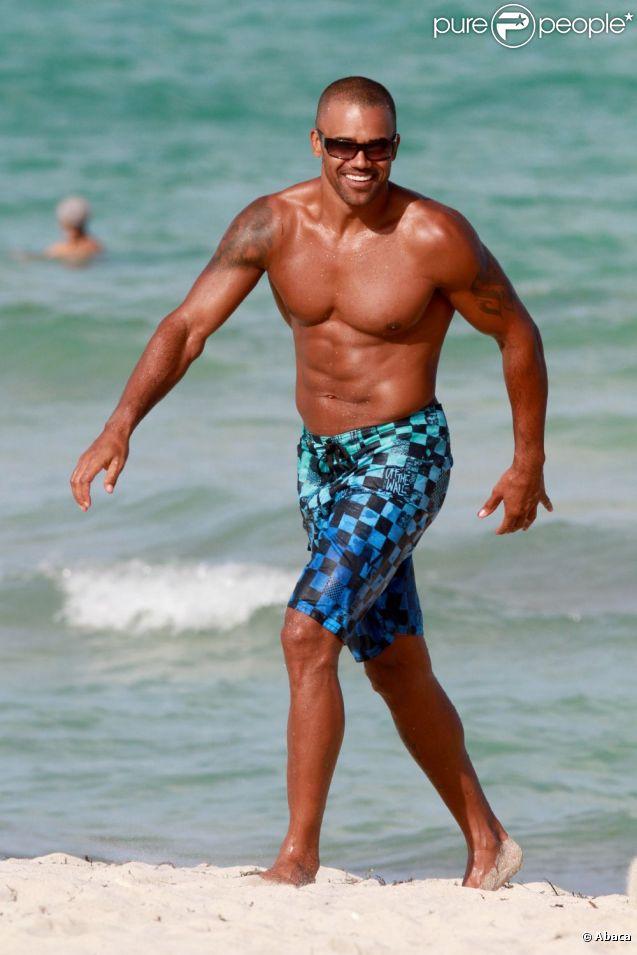 Shemar Moore, souriant et musclé à Miami le 3 juin 2012.