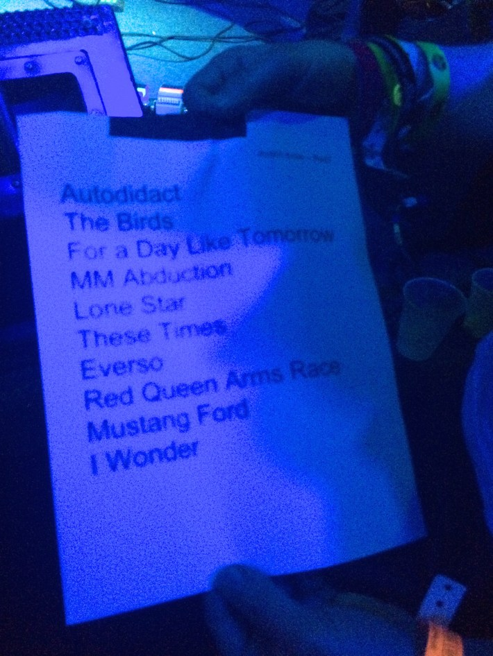 Red 7 set-list which my concert buddy Greg took home...