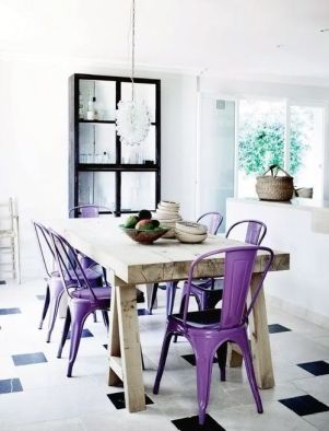 Purple Home Decor Dining Chairs Metal Chairs Plum Violet Farmhouse table Tile floor Dining Room Eating Eat In Kitchen Dining Area Dining Set