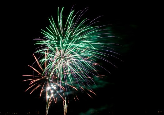 Green and Purple Fireworks