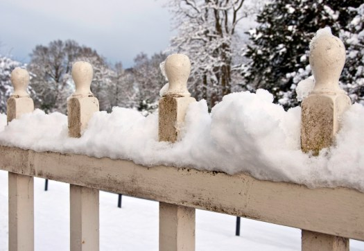 Snow on Wooden Fence