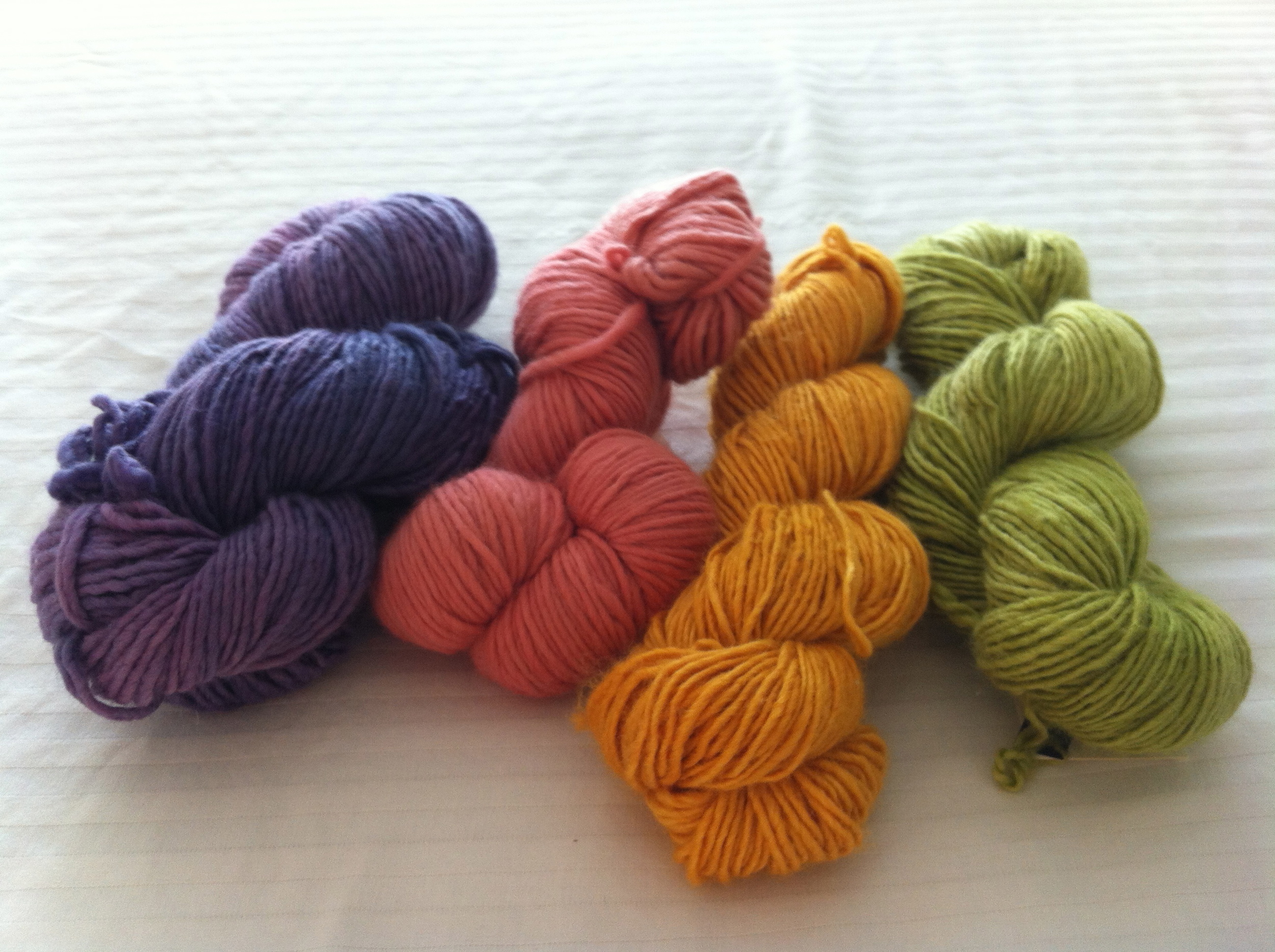 Some delicious Malabrigo yarn in worsted and fingering weights.